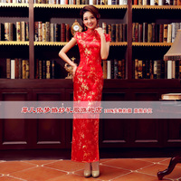 Cheongsam/chirpaur Married cheongsam chinese style long Qipao welcome cheongsam liturgy summer vintage bride cheongsam dress