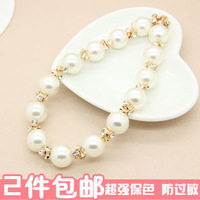 Wind excellent gentle pearl big sparkling diamond color block decoration formal dress necklace colnmnaris female n026