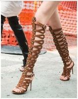 Hot Sale 2014 New Arrival Sexy Open Toe Knee High heel Cut-outs Women Summer Gladiator Sandal boots