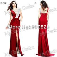 2014 Arab Elegant Deep V Neck Heavy Beaded Front Slit Side Red Wine Mermaid Elegant Evening Gowns Dresses New 92264