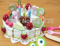 wooden play house toys Fruit birthday cake toys Children birthday gift Educational toys Free shipping