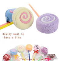100% microfiber cake towel lollipop wedding gift factory promotion