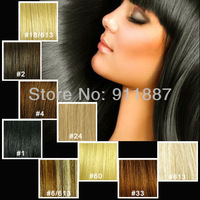 "15"" Clip In Remy Real Human Hair Extensions 8Pcs DIY All Color Black/Brown/Blonde/Red"