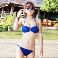 Female swimwear steel push up bikini split small hot spring swimsuit