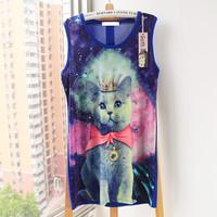 new 2014 European style Star Galaxy Vest Slim 3d galaxy print t-shirt 3 d cat space t shirt women Animal lady design tshirt