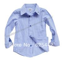 Free shipping 2013 new fashion autumn 100% cotton elegant stripe long-sleeve kid's/boy's shirt children's shirt 362