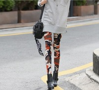 Free Shipping 2013 Full Fashion  Camo Leggings Women Print High Elastic Free Size with length 35.43inch(90cm)