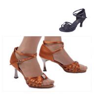 228High quality  Woman's Latin Dance shoes ballroom Samba Tango shoes Satin dancing  shoes Black Brown with Diamond
