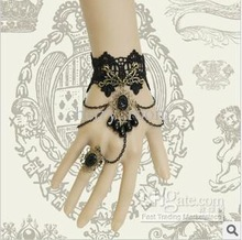 Black Crystal Rings Flower Women Black Lace Bracelets Fashion Party Jewelry 0111