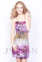 11C037 Sexy Classic Strapless Slim Line Sequins Short Gorgeous Luxury Unique Party Cocktail Dress Special Occasion Dresses