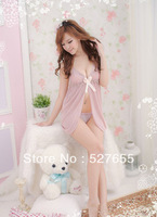 New Nude Chiffon Sexy Lingerie Braces Skirt Romantic Lace Dress+G-STRING Nightwear