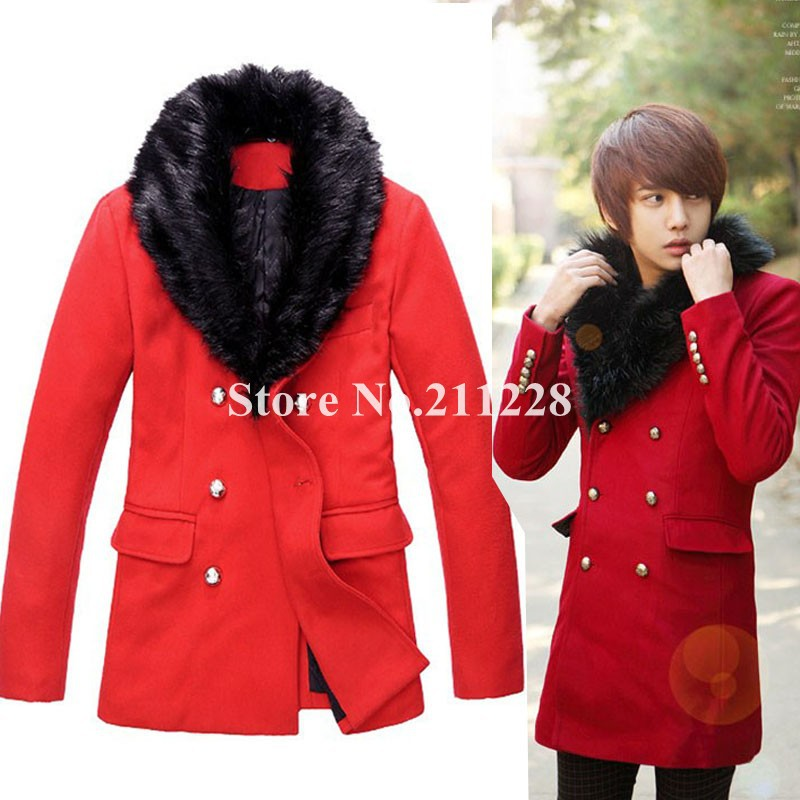 Red Pea Coat Men