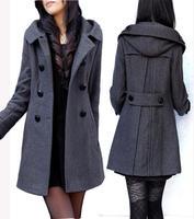 outerwear!!! coat woman long black Women's woolen outerwear ol slim medium-long double breasted woolen overcoat female thick