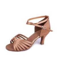 239Woman Latin Dancing shoes satin Ballroom  dance shoes Black Brown Skin 7 Strape Free shipping
