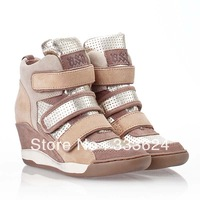 Hot Sale!!! Free Shipping 2013 Ash Women Wedge Sneakers Genuine Leather High Top Velcro Shoes Height Increasing For Woman Boots