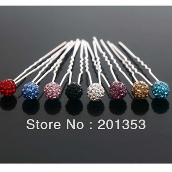 Wholesale lots 20pcs Colors Crystal Beads Wedding Bridal Tiara Hair Pins Clips Free Shipping