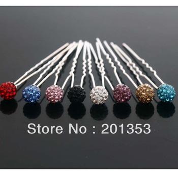 Wholesale lots 20pcs Colors Crystal Beads Wedding Bridal Tiara Hair Pins Clips Free Shipping