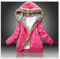 2014 new Four Color  Manufacturers Supply Women Plus Large Fur Collar Hooded Sweater Women Clothing