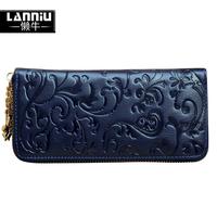 Lanniu genuine leather clutch fashion decorative pattern day clutch fashion vintage purse female