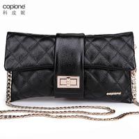 2013 plaid genuine leather fashion clutch bag fashion evening bag day clutch women's chain cross-body