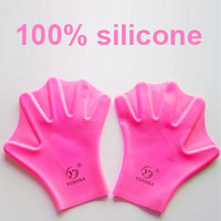 Free shipping 100% silicone gel webbed gloves for swimming with lovely colors