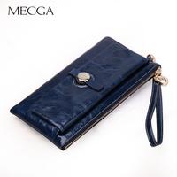 Megga fashion day clutch big capacity Women handle bag oil leather long zipper design clutch wallet