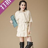 Free shipping 2013 rex rabbit hair fur medium-long patchwork o-neck ladies outerwear customize  retail