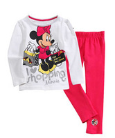 kid cartoon 2pcs clothes set for girls baby minnie cotton pajamas baby sleepwear free shipping 6 sizes