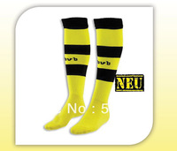 2 pair/lot 2014  Thailand quality original dortmund yellow soccer socks,  13 14 dortmund home socks Towel bottom football socks