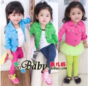 Girls jacket Retail 1 PCS 2015 denim jacket candy color Kids Child Baby outerwear girls coat