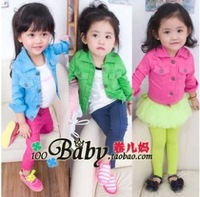 Girls jacket Retail 1 PCS 2014 denim jacket candy color Kids Child Baby outerwear girls coat children clothing