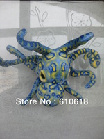 Free Shipping High Simulation Leopard Octopus Stuffed Plush Glass Sucker Toys Dolls Gifts Car Home Decor Toys Bule Color 1 Pcs