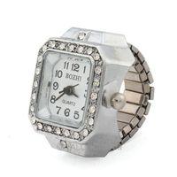 New Item Fashion Punk Rock style rhinestone Square Design Silvery Watch elastic Finger Ring 1pc 61971 free ship