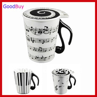 Novelty Creative White Music Cup Notes Piano Keyboard Ceramic Cup Porcelain Mug Coffee Cup with Cover Gift