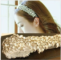 Free shipping Bridal hair accessories wedding headdress Rhinestone ribbon bands headband princess magazine style sweet