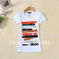 2013 t shirt women summer women's Geometric 95% cotton o-neck short-sleeve Plus Size T-shirt