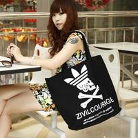 New arrival 2013 eco-friendly shampooers skull shopping bag canvas bag one shoulder women's big bags
