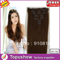 Dropshipping Fashion Indian Virgin Hair Loose Wave Cheap Clip In Human Hair Extensions Beautiful Female Weft 15''7pcs/set HE-08
