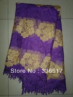 Free Shipping By DHL!!!New arrival African french lace with sequins,purple+gold+ sequins ,5 yards/piece,net embroidery lace