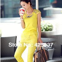 Free Shipping 2013New Women's Korean Fashion Fence Stitching Round Neck Short-Sleeved T-Shirt Slim Leisure Suit Size:M-L-XL-XXL