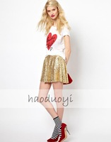 Womens o-neck cotton t-shirt with red heart and lucky tshirt printed for freeshipping and wholesale