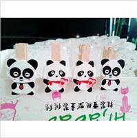 Japanese cartoon wood clip | panda couple wedding gifts | wedding mini wooden clip