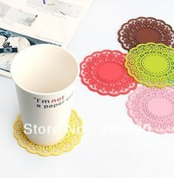 6colour table skidproof coffee Cup mat Insulation Non-slip Silicone pad Translucent hollow out cup mat 3*100mm,6pieceLot