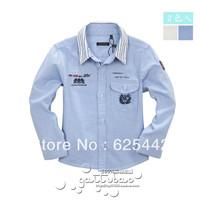 Free shipping 2013 new fashion autumn 100% cotton stripe patchwork fluid kid's/boy's long-sleeve shirt  children's shirt 297