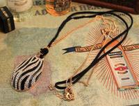 Korean Chain Pendant Necklace Black And White Zebra Stripes Long Necklac