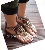 Wholesale - Women's film beaded shoes Lady Cheap bohemian flat sandals Open-toed shoes 3 color