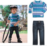 Free shipping boys and girl suit long sleeve /Striped turtleneck + Jeans children clothing/kid suit/child clothes sport wear