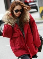 2013 New Winter Coat warm red blue with a hood outerwear wadded jacket cotton-padded jacket
