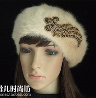 Fashion female hat rhinestone rabbit fur beret fashion thermal knitted flower hat autumn and winter hat