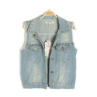 2013 Fashion women's punk bf denim vest outerwear
